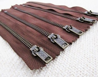 6inch - Milk Chocolate Brown Metal Zipper - Brass Teeth - 5pcs