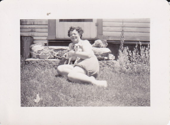 Lady and Her Dog Vintage Photograph (I)