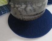 Navy Blue Industrial Felt wool Coaster Set, Dark Blue Drink Coasters, Beverage Coasters