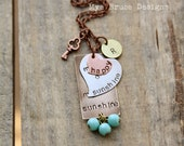 you are my sunshine - mixed metal design  with personalized initials -  and key to my heart elements with antique aqua dangles