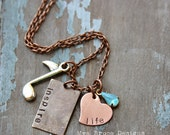 Music Teacher necklace - mixed metal - inspire life with vintage blue aqua drop and silver music note charm