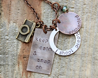 Mixed metal photographer necklace - keep calm and snap on, i shoot people, and personalized name plate