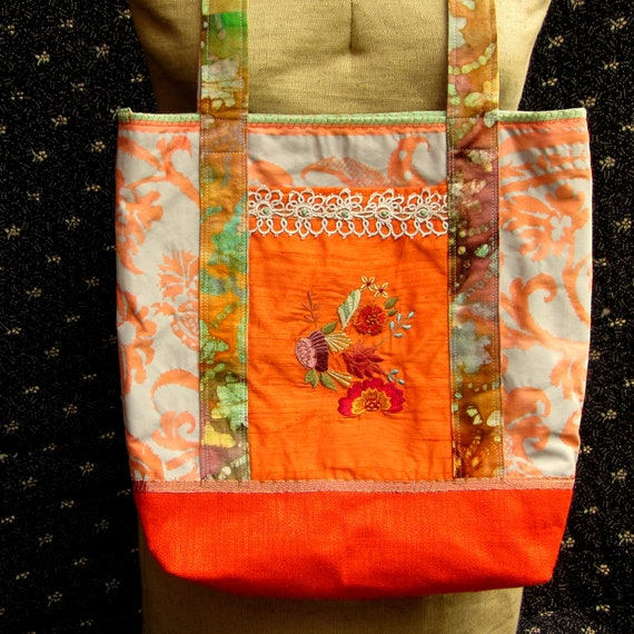 Handcrafted Summery Tote/Market Bag with Embroidered Orange Silk Pocket, Batik Handles, Damask Print Body