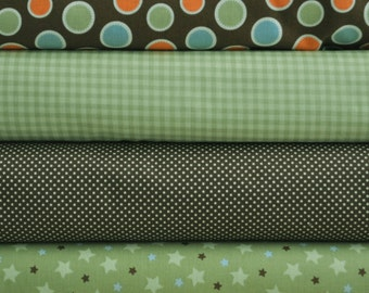 Mod Tod Green Fat Quarter Bundle by Sherri Berry Designs for Riley Blake, 1 yard total
