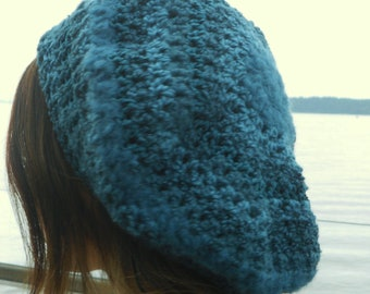 Shades of Teal Crochet Slouch Style Beanie Hat