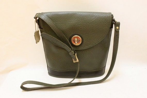 Vintage Olive Color Buffalo Leather Cross Body Shoulder Bag.
