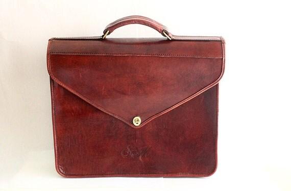Vintage Reddish Brown Leather Briefcase , Brown Leather Briefcase / BF-1000