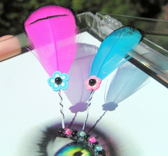 Neon Cotton Candy Eyelash Jewelry - feather false eyelashes with hot pink and blue flowers