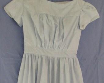 "Girl's Civil War Growth Dress Blue Plaid Size 6 / Waist 20"""