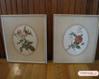 Vintage Floral Pictures with Frames  - Set of two