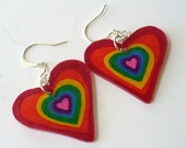 LEXI - Super Fly Rainbow Heart Dangle Earrings - Hand-Painted