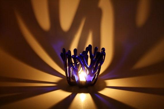 Cobalt Blue Tea Light Candle Holder Fused Glass