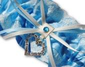 blue and ivory garter, Wedding Garter , beautiful blue and ivory with heart, heart garter, crystal heart garter, soft blue garter