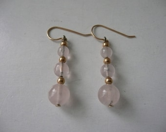 Pale Pink Triple Graduated Rose Quartz and 14K Gold Beaded Pierced Earrings