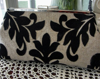 Frame Clutch, Taupe and Black Flocked Damask Pattern Reday To Ship