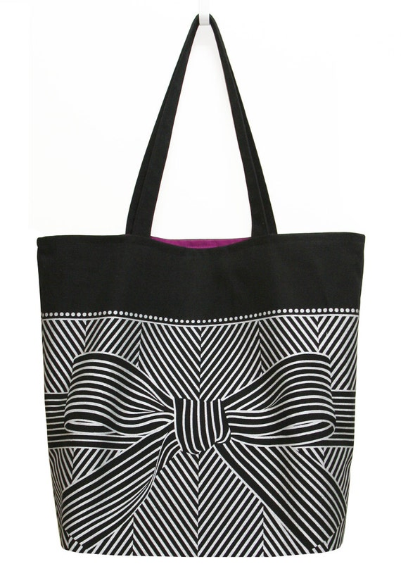 Big bow large black tote bag