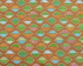 Cotton Fabric, 1 Yard, Fresh Meadows Leaves, Brown, Rust, Green, Blue, Quilt, Quilting, Pillow, Home Decor, Additional Yardage Available