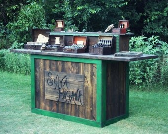 Trade Show Rustic custom table - farmhouse furniture - portable for display booth