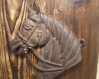 Rustic horse coat or tack rack  -- (1/2 price sale)  shabby chic farmhouse decor -- rich patina on cast iron hooks and western cedar