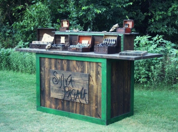 Rustic custom table - farmhouse furniture - portable for display booth