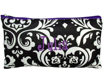 Personalized Cosmetic Case or Pencil Pouch Black & White Damask Purple Trim