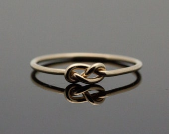 Gold Infinity ring. Solid 14K Gold knot ring. Knot promise ring. Yellow 14 Karat Gold.