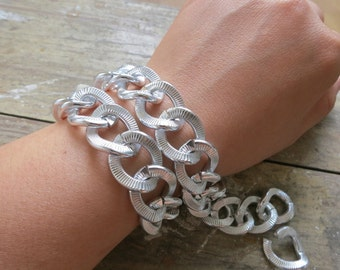 3ft Fancy Large Silver Aluminum Jewelry Oval Link Chain 18x22mm - K814