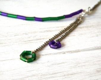 Green purple stripes necklace, rubber minimal bib design