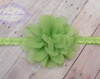 Lime green baby headband, infant headband, newborn headband, lime chiffon flower headband, photo prop, lime flower on lace headband