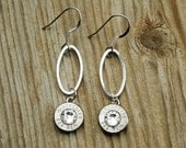 Bullet Earrings / Dangling Oval Bullet Earrings WIN-#-N-DOE / Silver Earrings / Dangle Earrings / Lightweight Earrings / Comfortable