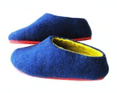 Cobalt Blue Womens Slippers with Rubber Sole Felted Slippers Wool Shoes 100% Wool Shoes Wool Clogs Made to order All sizes womens slippers