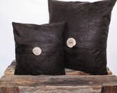Pillow Cover 12x12 FAUX Vintage Style Dark Chocolate Brown Leather with Wood Button Accent