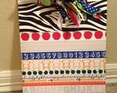 RESERVED for Kelli: Zebra School Clipboard (set of 2)