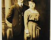 SALE...The Couple, 1910's, Real Photo Post Card,  Paper Ephemera, Art Images, Collectibles, Paper, Photography