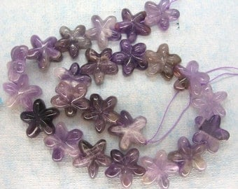 Natural Amethyst Star Beads - 16 Inch Strand