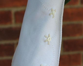 GLOVES - WHITE - long - EMBROIDERED with buttons - wedding