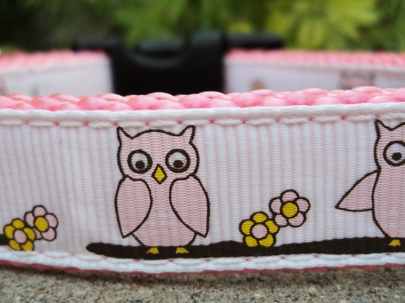 """Sale Small Dog Collar 3/4"""" wide Quick Release buckle Pink Owls adjustable - no martingale ribbon limited"""