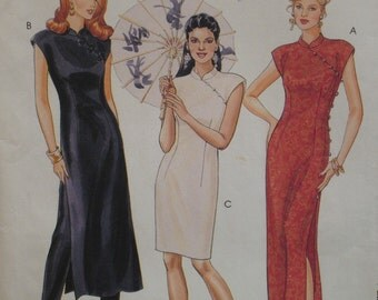 Chinese Style Dress Pattern Cheongsam, Fitted, Cap Sleeves, Side shoulder Button, Stand up Collar, Side Slit, McCalls No. 7412 UNCUT 6 8 10