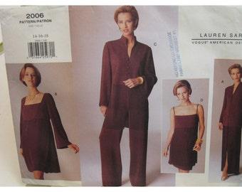 Lauren Sara Asian Look Tunic Pattern, Shoestring Strap Dress, Jacket, Pants, Skirt. Vogue American Designer No. 2006 UNCUT Size 8 10 12