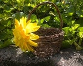 Dainty Rustic Flower Girl Basket with Oversized Yellow Silk Flower (or swap out for a different color, same size)