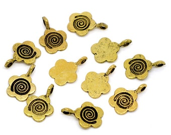 10 Antique Gold Fancy Five Petal Flower Glue on Bail 15x11mm DIY Jewelry Making