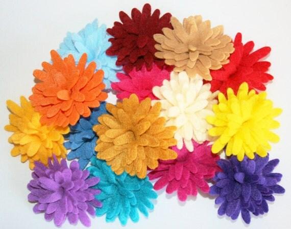 You Choose 4 Fancy Large Felt Chrysanthemum Flower 30 Colors Pom Poms For DIY Headbands Clips Pins Crafts