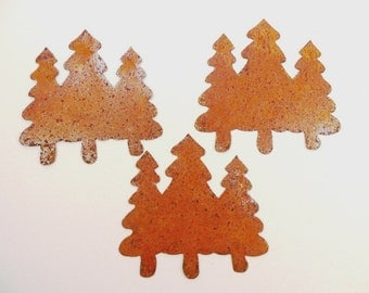 """10 Trees Rusty Tin Cut Outs 3"""""""