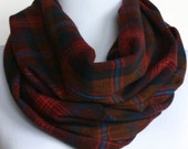 Plaid Infinity Scarf in Rust and Blue Autumn Flannel, Circle Scarf, Eternity Scarf, Loop Scarf