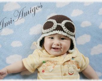 Crochet Dark Brown Aviator Hat (3 - 6 months)Gray Goggles
