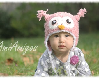 Cute Crochet Fuzzy Pink Owl Hat (Made To Order - Newborn to Adult Sizes)