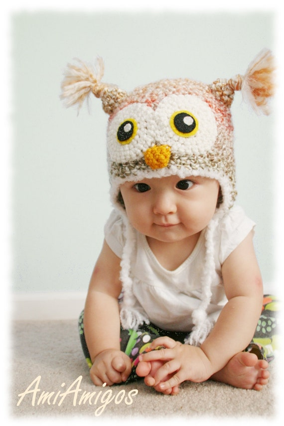 Crochet Autumn Color Owl Hat (6 - 12m)