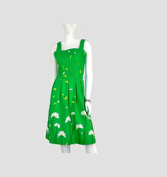 Sundress by Caroll Reed Kelly Green with Daisies Vintage 1980s Size 14