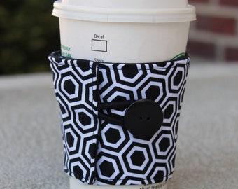 Coffee Cozy / Sleeve - Black and White Hexagon Cup Cozy - Geometric Print Coffee Sleeve - Bridesmaid Gift - Shower Favor - Coffee Gift