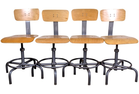 Reserved Listing for SARAH Industrial Drafting Chairs Set